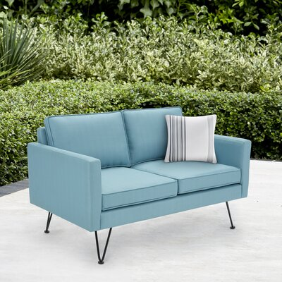 Austin Outdoor Loveseat Fabric: Blue