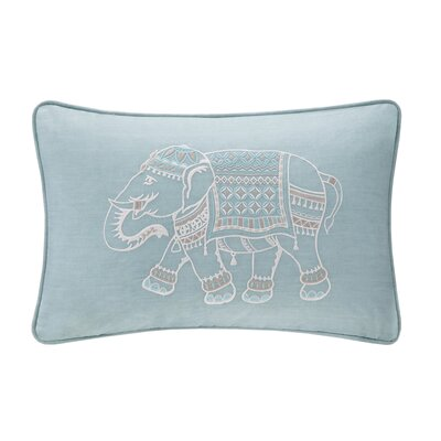 Dalila Embroidered Cotton Lumbar Pillow Color: Blue