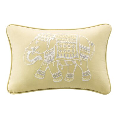Dalila Embroidered Cotton Lumbar Pillow Color: Yellow