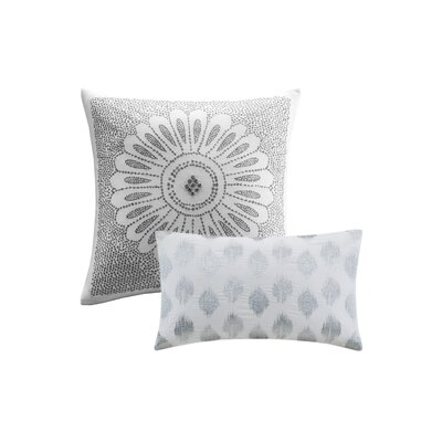 Behan Dot 100% Cotton Lumbar Pillow Color: Silver