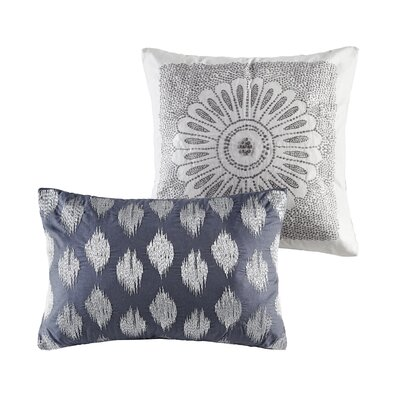 Behan Dot 100% Cotton Lumbar Pillow Color: Navy