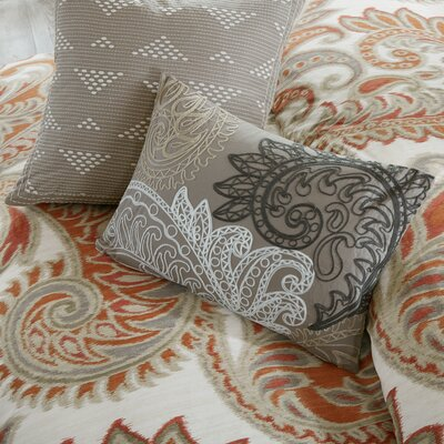 Kiran Embroidered Cotton Lumbar Throw Pillow Color: Taupe