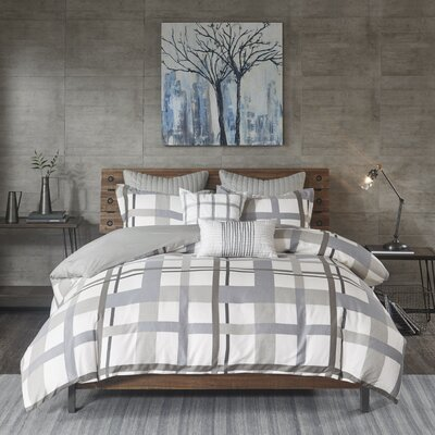 Sterling Plaid Cotton Sateen 3 Piece Comforter Set Size: King/California King