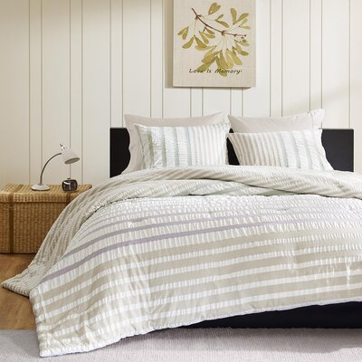 Sutton Duvet Cover Set Size: King, Color: Beige