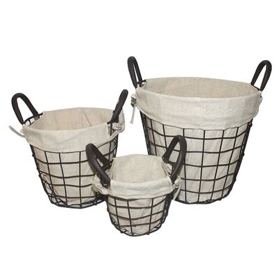 3 Piece Wire Basket with Linen Set