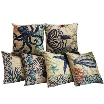 Midway Ocean 6 Piece Throw Pillow Set
