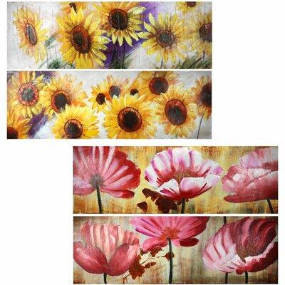 'Flower' Oil Painting Print Set on Wood