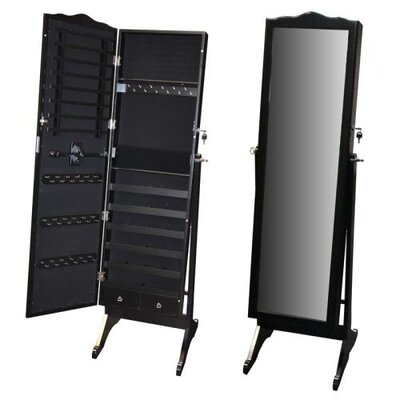 Whitman Free Standing Wood Jewelry Armoire with Mirror Finish: Black