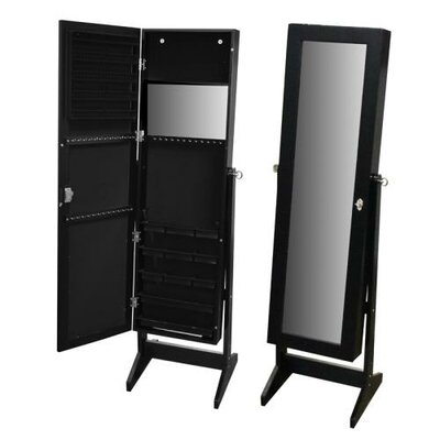 Pritchard Free Standing Jewelry Armoire with Mirror Finish: Black