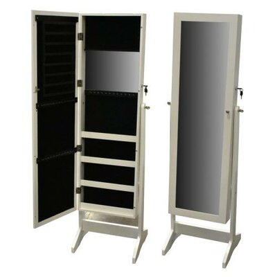 Pritchard Free Standing Wood Jewelry Armoire with Mirror Finish: White