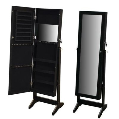 Pritchard Free Standing Wood Jewelry Armoire with Mirror Finish: Black