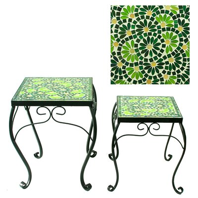 Besancon Mosaic Planter 2 Piece Nesting Tables Color: Blue