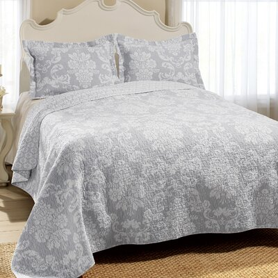 Venetia Cotton Reversible Quilt Set Size: Twin, Color: Gray