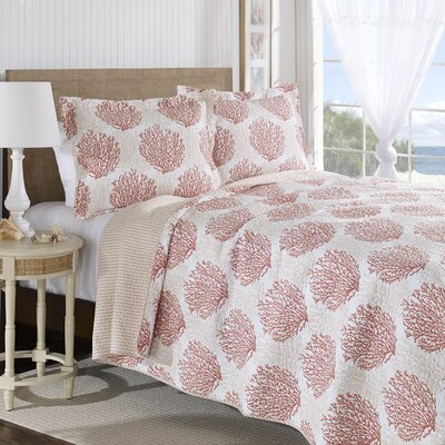 Coral Coast Cotton Reversible Quilt Set Size: Full / Queen