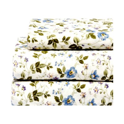 Spring Bloom Flannel 4 Piece Sheet Set Size: King
