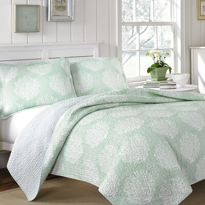 Laura Ashley Coral Coast 3 Piece Quilt Set Size: Full/Queen