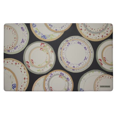 Tea Plates Kitchen Mat Color: Black