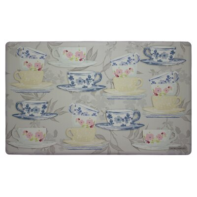 Tea Party Kitchen Mat Color: Grey