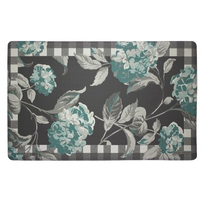 Hydrangea Plaid Border Kitchen Mat Color: Teal