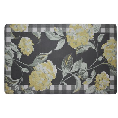 Hydrangea Plaid Border Kitchen Mat Color: Chamomile