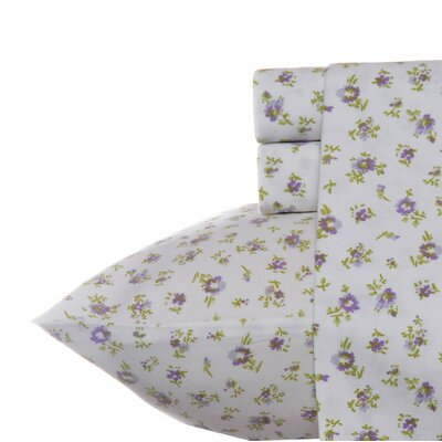 Petite Fleur 300 Thread Count 100% Cotton Sheet Set Size: Queen