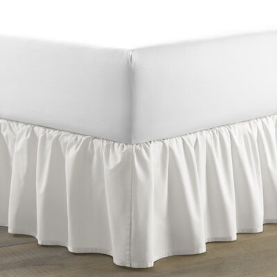 Solid 100% Cotton Panel Bed Skirt by Laura Ashley Home Size: King, Color: White