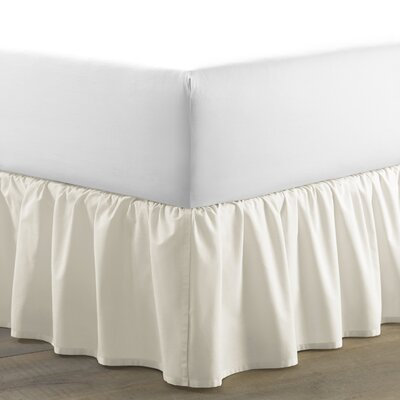 Ruffled 150 Thread Count Bed Skirt Size: Queen, Color: Ivory