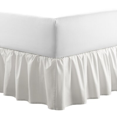 Solid 100% Cotton Panel Bed Skirt by Laura Ashley Home Size: Full, Color: White