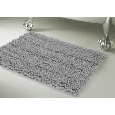 Astor Striped Plush Chenille Bath Mat Color: Light Gray, Size: 20 X 34
