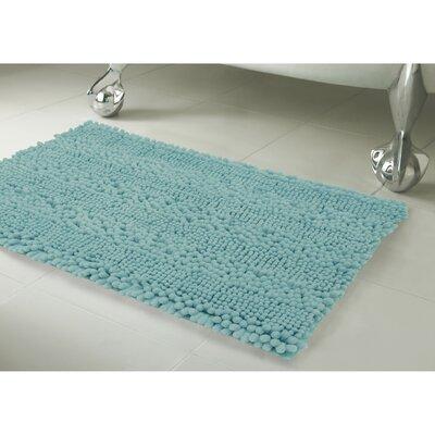 Astor Striped Plush Chenille Bath Mat Color: Aqua, Size: 17 X 24
