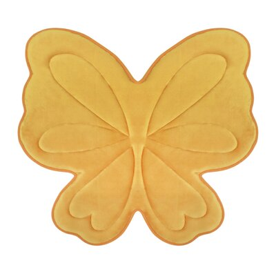 Butterfly Memory Foam Bath Mat Color: Banana Yellow