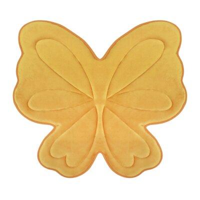 Butterfly Memory Foam Bath Mat Color: Banana Yellow