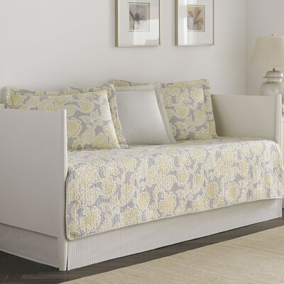 5-Piece Dorothy Daybed Cotton Quilt Set in Gray & Yellow by Laura Ashley 207238
