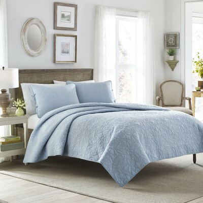 Felicity Quilt Set by Laura Ashley Home Color: Breeze Blue, Size: Full / Queen
