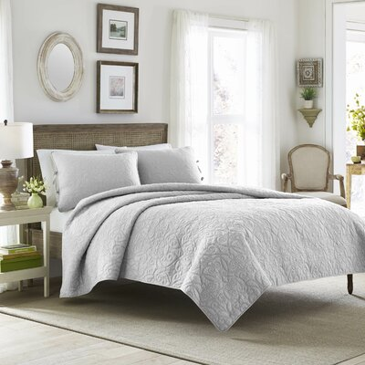Felicity Quilt Set Size: King, Color: Gray