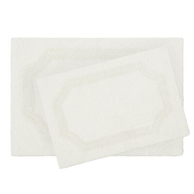 2 Piece Reversible Cotton Bath Rug Set Color: White
