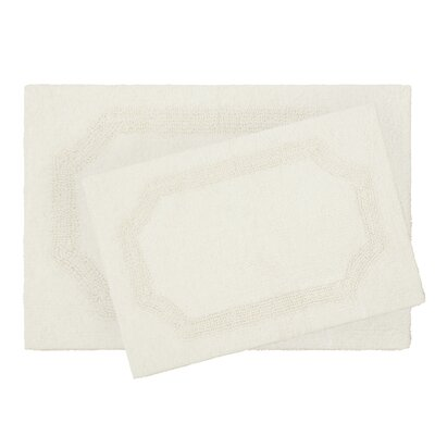 2 Piece Reversible Cotton Bath Rug Set Color: Ivory