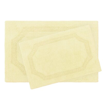 2 Piece Reversible Cotton Bath Rug Set Color: Yellow