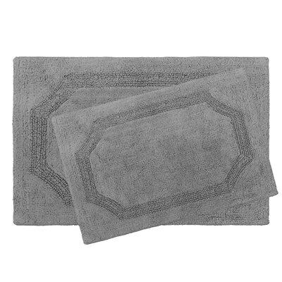 2 Piece Reversible Cotton Bath Rug Set Color: Charcoal