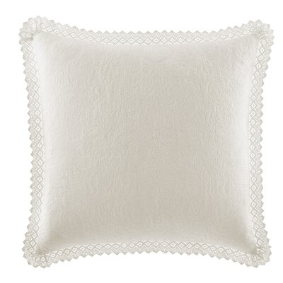 Crochet Cotton Throw Pillow by Laura Ashley Home Color: Ivory