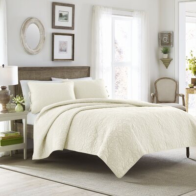 Felicity Quilt Set by Laura Ashley Home Color: Ivory, Size: King