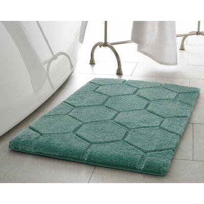 Pearl Honeycomb Bath Mat Size: 17 x 24, Color: Lake Blue