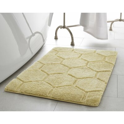 Pearl Honeycomb Bath Mat Size: 17 x 24, Color: Banana