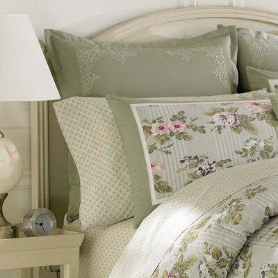 Laura ashley avery euro sham pillow sage green queen for King shams on queen bed