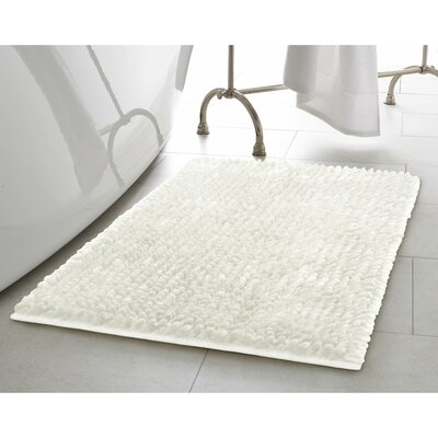 Butter Chenille Bath Rug Color: White, Size: 27 W x 45 L