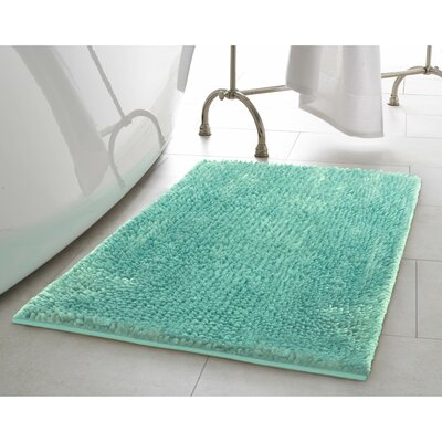 Butter Chenille Bath Rug Color: Aqua, Size: 20 W x 34 L