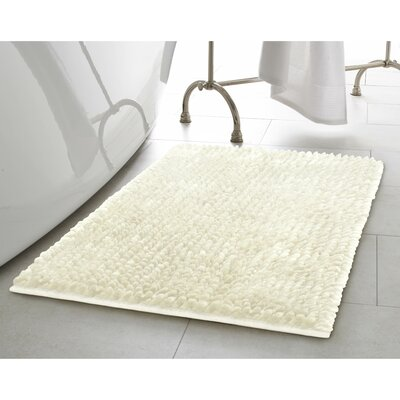 Butter Chenille Bath Rug Color: Ivory, Size: 17 W x 24 L