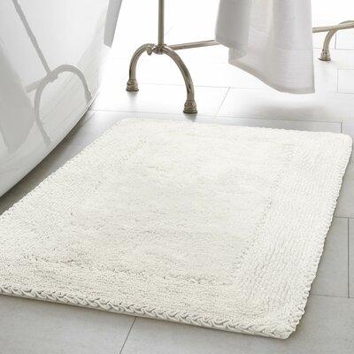 Ruffle Cotton Bath Rug Color: White