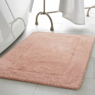 Ruffle Cotton Bath Rug Color: Blush