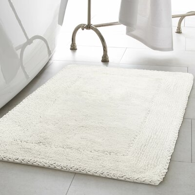 Ruffle Cotton Bath Rug Color: White